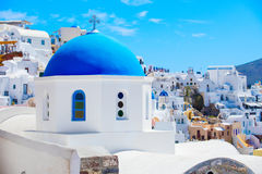 One of churches in Santorini with blue roof Royalty Free Stock Image