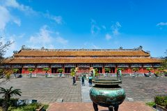 One of the city squares in famous forbidden purple city in Vietn stock image