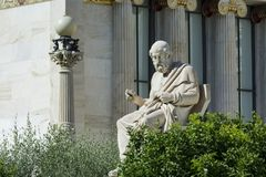 One classic statue of plato. At academy of athens, Greece Royalty Free Stock Image