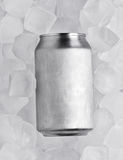 One clean tin on the background of ice cubes Stock Photos