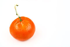 One clementine mandarin oranges. Horizontal format isolated on w Royalty Free Stock Image