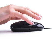 One-click management. Computer work One-click management mouse hand stock photos