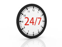 One clock with the numbers. 24 and 7 on center, concept of full availability (3d render Royalty Free Stock Images