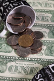 One coffee cup and US dollars Stock Images