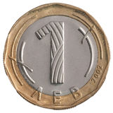 One coin Bulgarian lev. Isolated on white background Stock Photo