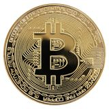 One Coin Golden Bitcoin isolated on white background. Royalty Free Stock Photo