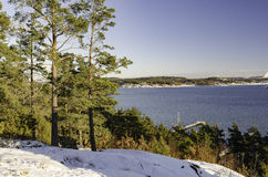 One cold winterday on swedish westcoast. Blue sky and very sunny Royalty Free Stock Image