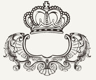 One Color Crown Crest Composition. One Color Crown Crest Ornate Composition Stock Images