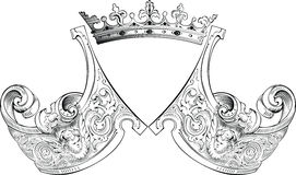 One Color Crown Heraldry Composition. Stock Image