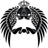 One Color Crown Skull Wings Stock Images
