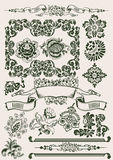One Color Flowers Vintage Clipart Royalty Free Stock Images