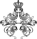 One Color Retro Royal Crown Curves Royalty Free Stock Photography