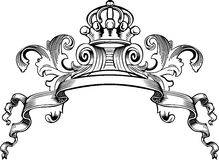 One Color Royal Crown Vintage Banner Stock Photo