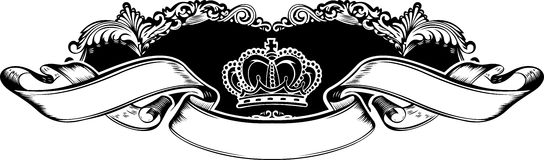 One Color Royal Crown Vintage  Banner Royalty Free Stock Image