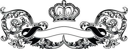 One Color Royal Crown Vintage Banner Stock Image