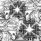 One Color Vector Printed Circuit Board Stock Photos
