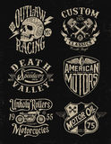 One color vintage motorcycle graphic set.  Royalty Free Stock Image