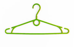 One colored plastic hanger, isolated on white background, close- Stock Images