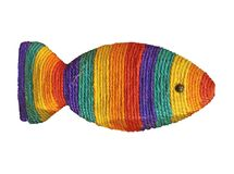 One colorful straw fish isolated,. One colorful straw fish isolated on white background. yarn color diversity, rainbow concept Royalty Free Stock Photography