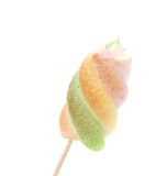 One colourful marshmallow on a stick. Royalty Free Stock Photography