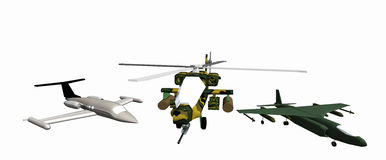 One combat helicopter and two combat aircraft low-poly 3D models Stock Photo