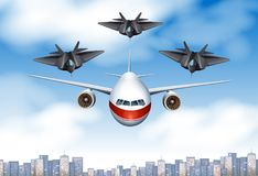 One commercial airplane and three fighting planes in the sky. Illustration Royalty Free Stock Photos