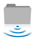One computer folder icon with a wireless symbol Royalty Free Stock Photos