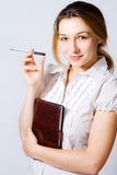 One confident cute smart young business woman Royalty Free Stock Image