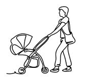One continuous drawn line running with a stroller drawn from the hand a picture of the silhouette. Line art. character Royalty Free Stock Photos