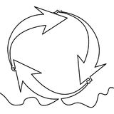 One continuous line drawing of cycle arrows royalty free illustration