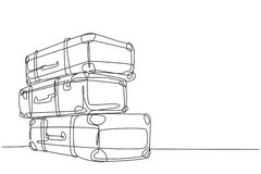 Free One Continuous Line Drawing Of Old Retro Vintage Leather Suitcases Stack. Classic Travelling Item Concept Single Line Draw Graphic Stock Image - 191008771