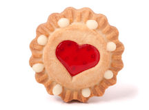 One cookie with jelly and heart on a white background Stock Photo