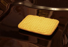 One cookie laying on the black plate Royalty Free Stock Photos