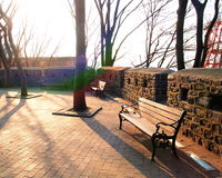 Benches at Seoul Towerl, South Korea. Royalty Free Stock Image