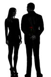 One couple man hiding rose flower and woman smiling Royalty Free Stock Photos