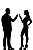 One couple man and woman drinking wine toasting Stock Photos