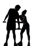 One couple man woman exercising workout fitness