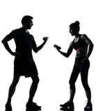 One couple man woman exercising workout fitness Stock Photography