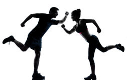 One couple man woman exercising workout fitness Royalty Free Stock Photos