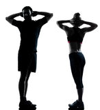 One couple man woman exercising workout fitness Stock Image