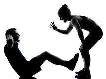 Free One Couple Man Woman Exercising Workout Fitness Royalty Free Stock Photo - 22419305