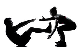 One couple man woman exercising workout fitness Stock Images