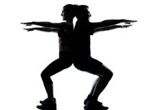 One couple man woman exercising workout fitness Stock Photo