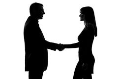 One couple man and woman handshake Stock Photos