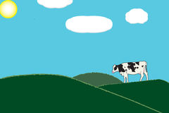 One cow in green grass pastures. Illustration of one cow in green grass pastures with blue sky and white clouds Stock Image