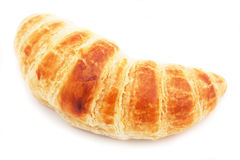 One croissant isolated on white Royalty Free Stock Images