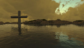 One  cross in water Royalty Free Stock Photo