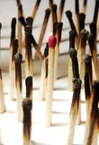 One in the crowd. Closeup view of matches with only one left Stock Photo