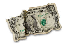 One crumpled dollar. Isolated on white royalty free stock photos