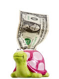 One crumpled dollar & piggy bank Royalty Free Stock Images